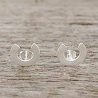 Sterling silver button earrings, 'Horseshoe Charm' - Sterling Silver Horseshoe Button Earrings from Thailand