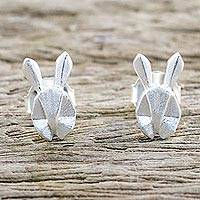 Sterling silver stud earrings, 'Geometric Rabbits' - Origami Style Rabbits as Sterling Silver Stud Earrings