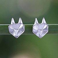 Sterling silver stud earrings, 'Geometric Foxes' - Cute Origami Style Foxes as Thai Sterling Silver Earrings