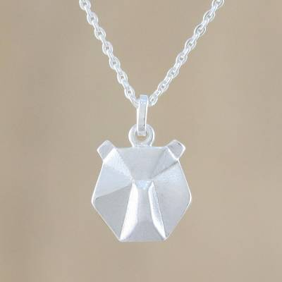 Sterling silver pendant necklace, 'Geometric Bear' - Origami Style Bear Pendant in Thai Sterling Silver Necklace