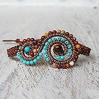 Multi-gemstone pendant bracelet, 'Bohemian Waters' - Multi-Gem and Leather Spiral Pendant Bracelet from Thailand