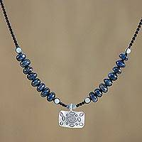 Kyanite and amazonite pendant necklace, 'Cool Karen' - Kyanite Amazonite and Karen Silver Necklace from Thailand