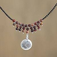 Silver and jasper pendant necklace, 'Romantic Whisper' - Karen Silver and Jasper Pendant Necklace from Thailand