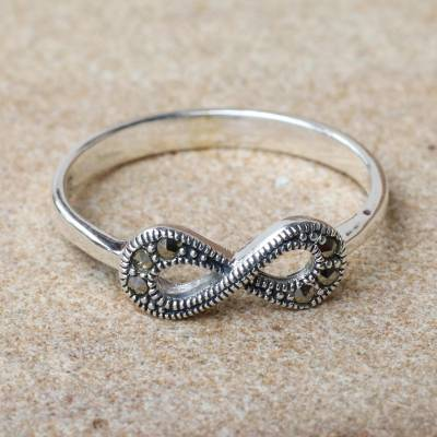 Marcasite cocktail ring, 'Infinite Sparkle' - Thai Sterling Silver and Marcasite Infinity Loop Ring