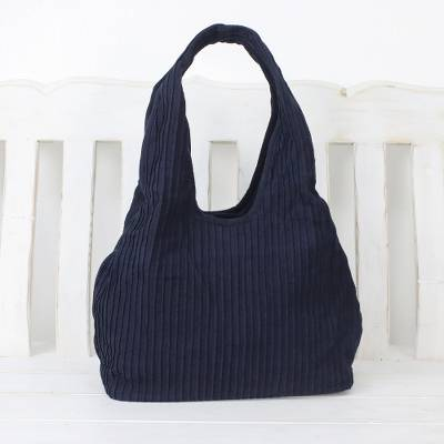 Cotton shoulder bag, 'Thai Texture in Midnight' - Textured Cotton Shoulder Bag in Midnight from Thailand