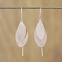 Rose gold plated dangle earrings, 'Fluttering Foliage' - Thai Silver Silver Leaf Earrings Bathed in Rose Gold