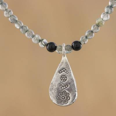 Labradorite and onyx pendant necklace, 'Charming Flower' - Labradorite and Onyx Pendant Necklace from Thailand
