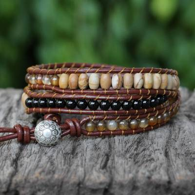 Multi-gemstone wrap bracelet, 'Earthen Blend' - Karen Silver Multigem Beaded Wrap Bracelet from Thailand
