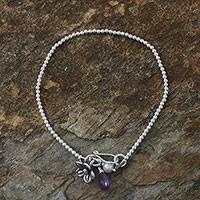 Cultured pearl and amethyst charm bracelet, 'Blossoming Friendship' - Cultured Pearl Amethyst and Silver Floral Beaded Bracelet