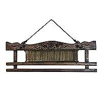 Teakwood decorative rack, 'Weaving Comb' - Teakwood and Bamboo Cultural Decorative Rack from Thailand