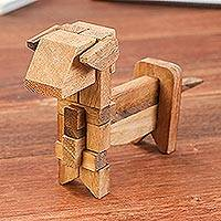 Wood puzzle, 'Excited Puppy' - Handcrafted Wood Dog-Shaped Puzzle from Thailand