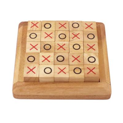 Handcrafted Large Wood Tic-Tac-Toe Board from Thailand