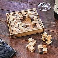 Wood puzzle, 'Chess Shapes' - Handcrafted Wood Chessboard Puzzle from Thailand