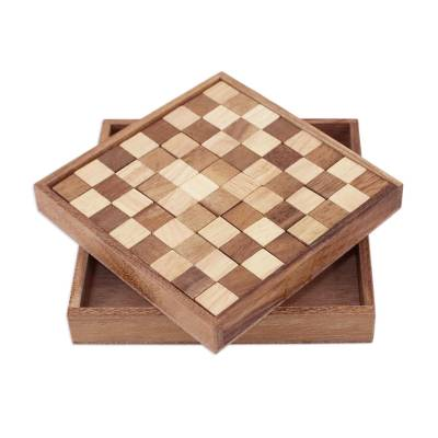 Handcrafted Wood Chessboard Puzzle from Thailand