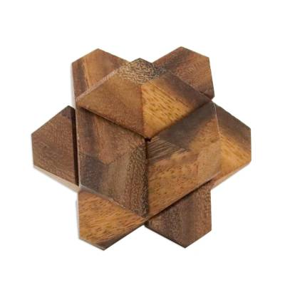 Handcrafted Wood Star-Shaped Puzzle from Thailand