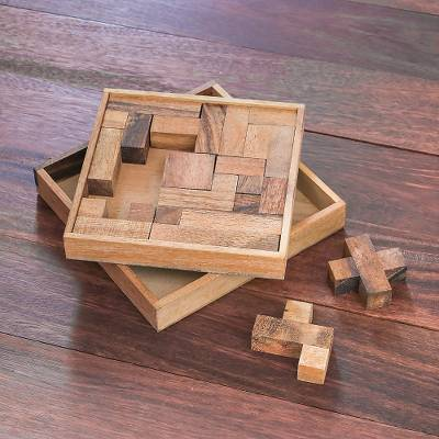Wood puzzle, 'Geometry Game' - Handcrafted Square Wood Geometric Puzzle from Thailand