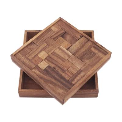 Handcrafted Square Wood Geometric Puzzle from Thailand