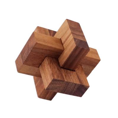 Handcrafted Wood Burr Puzzle from Thailand