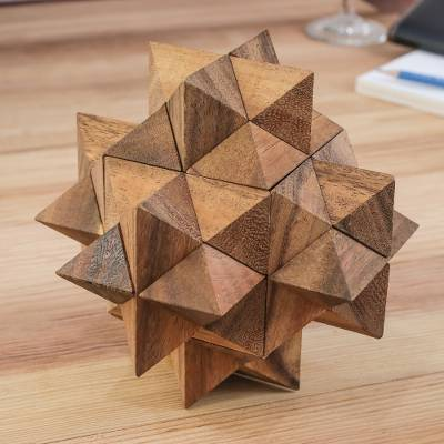 Wood puzzle, 'Great Star' - Raintree Wood 3D Puzzle from Thailand
