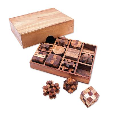 12 Handcrafted Wood Puzzles with Box from Thailand