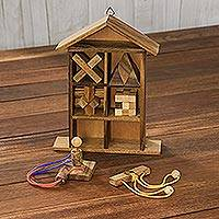 Wood puzzle set with box, 'Household Challenge' (set of 6) - Six Rain Tree Wood Puzzles with Box from Thailand