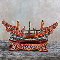 Wood sculpture, 'Kolae Adventure' - Hand Painted Multicolor Wood Boat Sculpture from Thailand