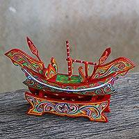 Wood sculpture, 'Fishing Boat' - Hand Painted Multicolored Wood Boat Sculpture from Thailand