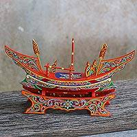 Wood sculpture, 'Fishing Adventure' - Hand Painted Multicolor Wood Boat Sculpture from Thailand