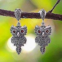 Marcasite and garnet dangle earrings, 'Owl Magic' - Fair Trade 925 Silver, Marcasite and Garnet Owl Earrings