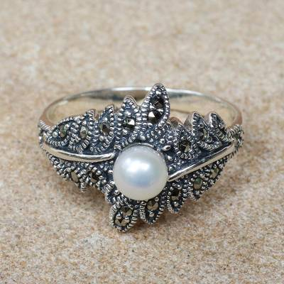 Cultured Pearl and Marcasite Cocktail Ring from Thailand