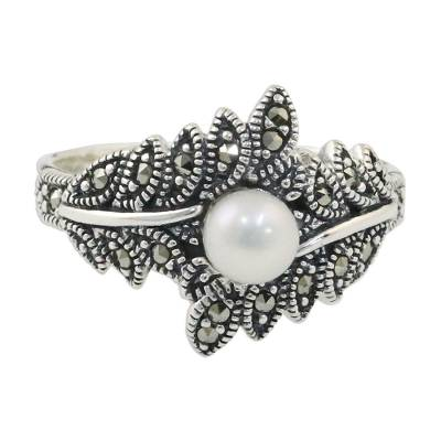 Cultured pearl and marcasite cocktail ring, 'Star of the Show' - Cultured Pearl and Marcasite Cocktail Ring from Thailand