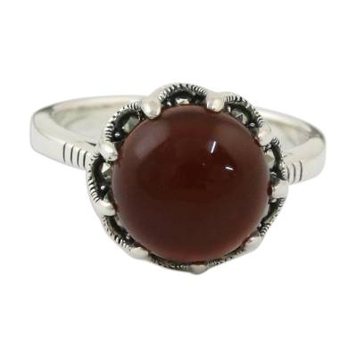 Red-Orange Carnelian and Marcasite Cocktail Ring