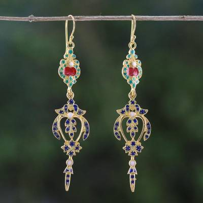 Gold plated brass dangle earrings, Thai Confection