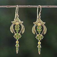 Gold plated brass dangle earrings, 'Proud Beauty in Green' - Gold Plated Brass Earrings in Green from Thailand