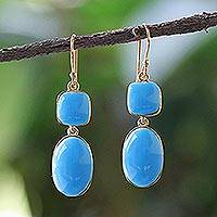 Gold plated brass dangle earrings, 'Simply Ornate' - Gold Plated Brass and Blue Resin Earrings from Thailand