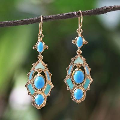 Gold plated brass dangle earrings, 'Ornate Thai in Blue' - 22k Gold Plated Brass Ornate Earrings in Blue from Thailand