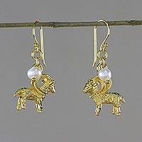 Gold plated cultured pearl dangle earrings, 'Radiant Aries' - Gold Plated Cultured Pearl Aries Earrings from Thailand