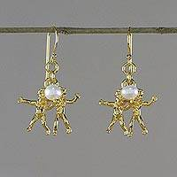 Gold plated cultured pearl dangle earrings, 'Radiant Gemini' - Gold Plated Cultured Pearl Gemini Earrings from Thailand