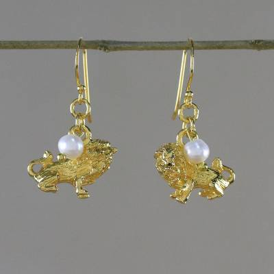Gold plated cultured pearl dangle earrings, 'Radiant Leo' - Gold Plated Cultured Pearl Leo Earrings from Thailand
