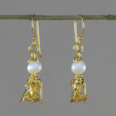 Gold plated cultured pearl dangle earrings, 'Radiant Virgo' - 18k Gold Plated Cultured Pearl Virgo Earrings from Thailand