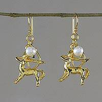 Gold plated cultured pearl dangle earrings, 'Radiant Sagittarius' - Gold Plated Pearl Sagittarius Earrings from Thailand