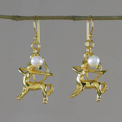 Gold plated cultured pearl dangle earrings, Radiant Sagittarius