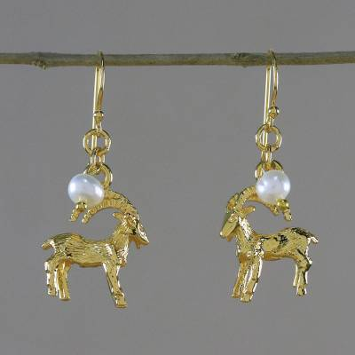 Gold plated cultured pearl dangle earrings, 'Radiant Capricorn' - Gold Plated Cultured Pearl Capricorn Earrings from Thailand