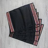 Handwoven placemats, 'Dining Hill Tribe in Onyx' (set of 6) - Six Handwoven Hill Tribe Placemats in Onyx from Thailand