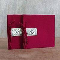 Saa paper journals, 'Fresh Memories' (pair) - Red Fabric Covered Journals from Thailand (Pair)