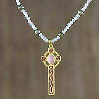 Gold plated cultured pearl pendant necklace, 'Faithful Soul in Pink' - Gold Plated Cultured Pearl Pink Cross Necklace from Thailand