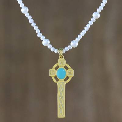 Gold plated cultured pearl pendant necklace, 'Faithful Soul in Aqua' - 22k Gold Plated Cultured Pearl Aqua Cross Necklace