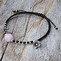 Rose quartz beaded bracelet, 'Pink Smile' - Karen Silver and Rose Quartz Floral Bracelet from Thailand