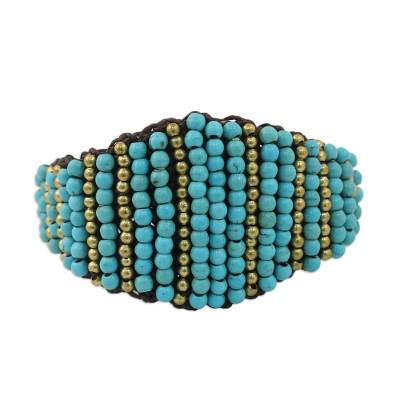 Calcite and Brass Wristband Bracelet from Thailand