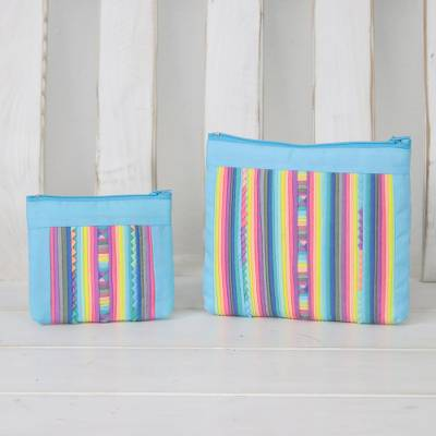 Cotton blend cosmetic bags, 'Exotic Lisu in Sky Blue' (pair) - Handcrafted Cotton Blend Cosmetic Bags from Thailand (Pair)